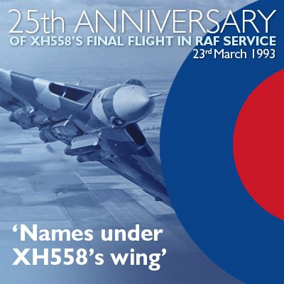 Names under XH558`s Wing - 25th Anniversary of last RAF flight